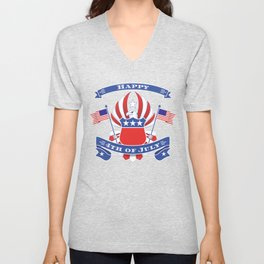4th of July Eagle Coat of Arms - Independence Day Unisex V-Neck