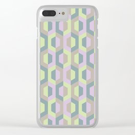 Pastel Two Tone Hexagon Clear iPhone Case