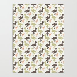Green Brown and Pink Nature Flamingo Silhouette Poster