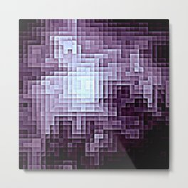 Nebula Pixels Dark Plum Purple Metal Print