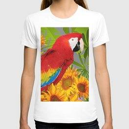 JUNGLE ART RED-BLUE MACAW PARROT & SUNFLOWERS T-shirt