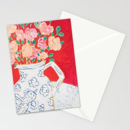 Delft Bird Pitcher on Red Background Stationery Cards