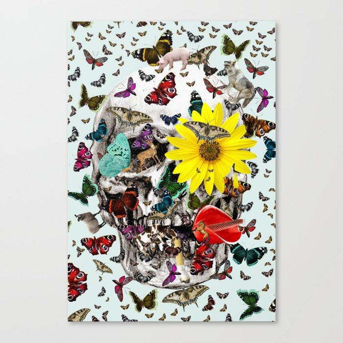 Skull Flowers Animals on MINT   Butterflies Canvas Print