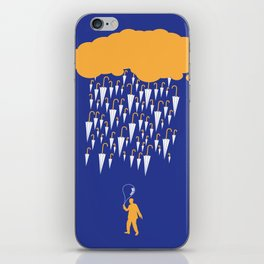 raining umbrellas iPhone Skin