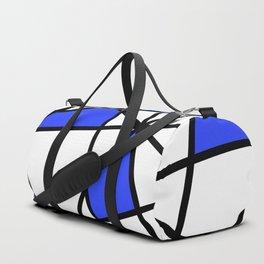 Geometric Modern triangles - white blue Duffle Bag