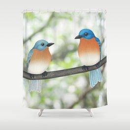 eastern bluebirds and bokeh Shower Curtain