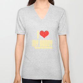If you love them tell them! Makes a happy and touching tee design this holiday!  Simple gift too!  Unisex V-Neck