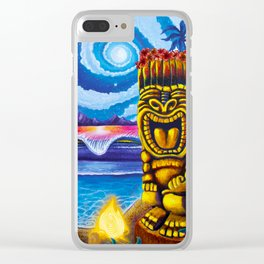 Tiki Moon Clear iPhone Case