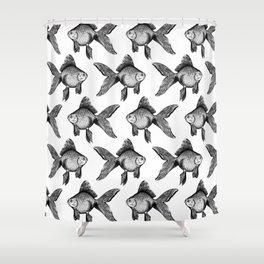 Black Goldfish Pattern Shower Curtain