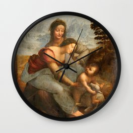 Leonardo da Vinci, Virgin and Child with St Anne, 1503 Wall Clock