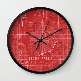 Sioux Falls Map, USA - Red Wall Clock