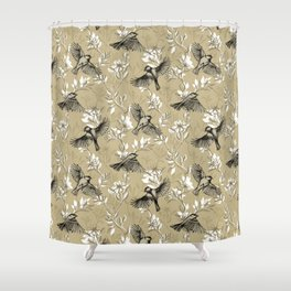 Flowers and Flight in Monochrome Golden Tan Shower Curtain