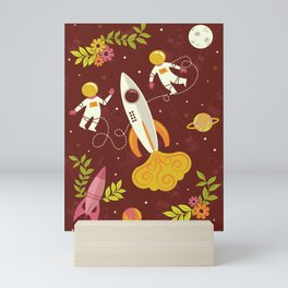 Astronauts in Space with Florals - Maroon Mini Art Print