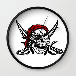 Cranium Swords and Red Scarf Wall Clock