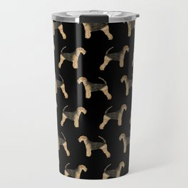 Airedale Terrier pattern minimal pet portrait dog gifts dog breeds dog lover Travel Mug