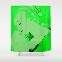 madonna Shower Curtains featuring Madonna and Child by veronica ∨∧