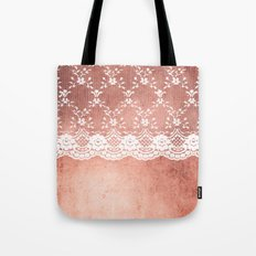 White floral luxury lace on pink rosegold grunge backround Tote Bag