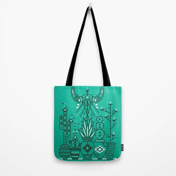 Santa Fe Garden – Turquoise & Black Tote Bag