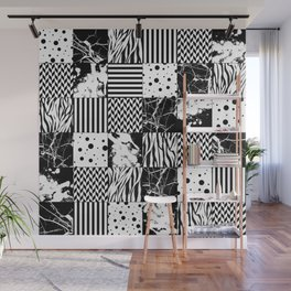 Eclectic Black and White Squares Wall Mural