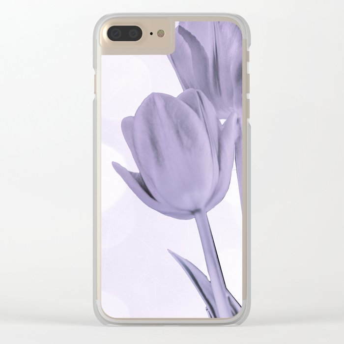 Tulips (b&w) Clear iPhone Case