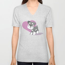 Miniature Schnauzer Puppy Dog Adorable Baby Love Unisex V-Neck