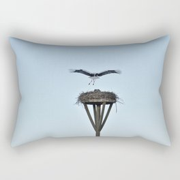 Stork landing on nest  Rectangular Pillow