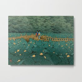 Vintage Japanese Woodblock Print Kawase Hasui Japanese Children Lotus Flowers Garden Wooden Bridge Metal Print