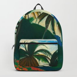 Tropical Scene with Palms and Flowers by Joseph Stella Backpack
