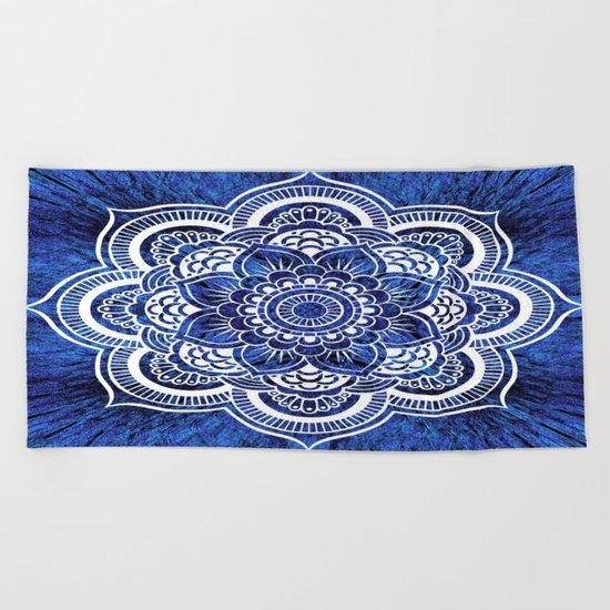 Mandala Blue Colorburst Beach Towel