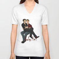 destiel V-neck T-shirts featuring Demon destiel by Utrennyaya