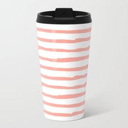 Pink Drawn Stripes Travel Mug
