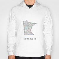 minnesota Hoodies featuring Minnesota map by David Zydd
