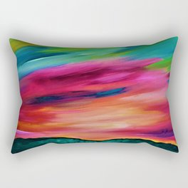 ROSY SKY OVER THE HILLS - Abstract Sky Oil Painting Rectangular Pillow