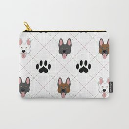3 German Shepherd Colors Paw Print Pattern Carry-All Pouch