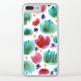 Teal and Pink Watercolor Pattern Clear iPhone Case