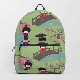 Japanese Neck Gator Geisha Girl Japanese Footbridge Backpack