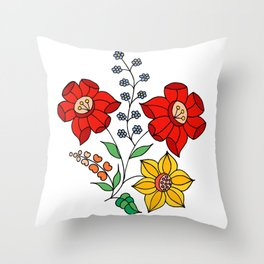 Hungarian placement print - white Throw Pillow