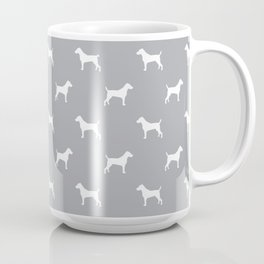 Jack Russell Terrier grey and white minimal dog pattern dog silhouette pattern Coffee Mug