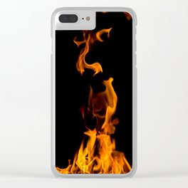 Fire flames on black Clear iPhone Case