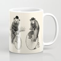 bicycles Mugs featuring Bears on Bicycles (Lime) by Eric Fan