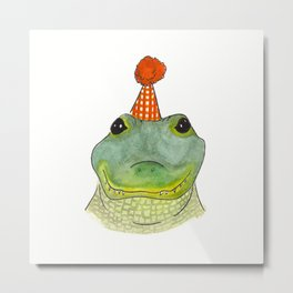 Party Animal - Watercolor Gator Metal Print