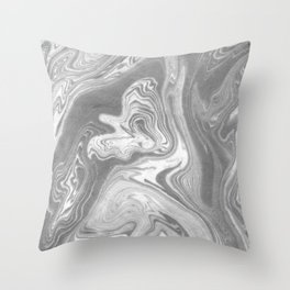 Eiji - spilled ink art marbled paper marbling abstract painting topography nature black and white Throw Pillow