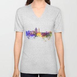 Metz skyline in watercolor background Unisex V-Neck