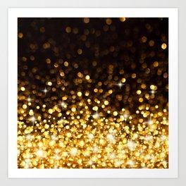 Gold Ombre Glitter Art Print