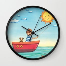 Happy Fishing Day Wall Clock