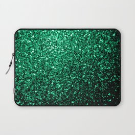Beautiful Emerald Green glitter sparkles Laptop Sleeve