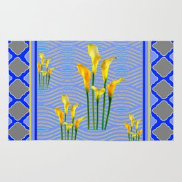 Shades of Blue Yellow Calla Lily Art Rug