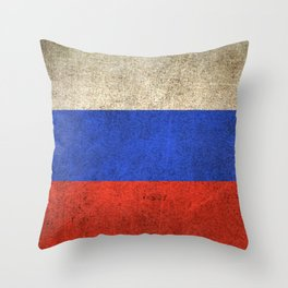 Old and Worn Distressed Vintage Flag of Russia Throw Pillow