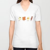 wall clock V-neck T-shirts featuring Let's All Go And Have Breakfast by Teo Zirinis