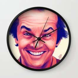 Young Jack Nicholson and the evil smile - digital painting Wall Clock